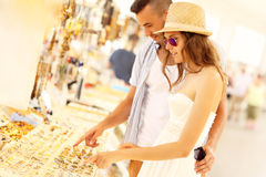 People searching for souvenirs Royalty Free Stock Photography