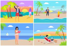 People by Seaside Freelance Vector Illustration royalty free illustration