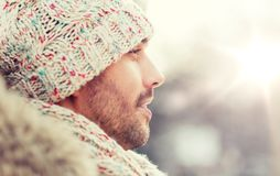Face of happy man outdoors in winter Royalty Free Stock Photos