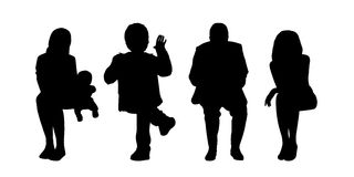People seated outdoor silhouettes set 2 Royalty Free Stock Photography