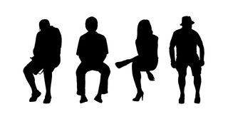 People seated outdoor silhouettes set 1 Stock Images