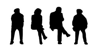 People seated outdoor silhouettes set 3 Stock Image