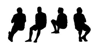 People seated outdoor silhouettes set 12 Stock Photos
