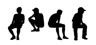 People seated outdoor silhouettes set 13 Stock Images