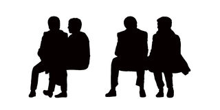 People seated outdoor silhouettes set 10. Black silhouettes of old couples seated outdoor and talking, front view Royalty Free Stock Photo