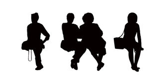People seated outdoor silhouettes set 9 Royalty Free Stock Photos