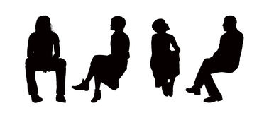 People seated outdoor silhouettes set 6 Royalty Free Stock Photo