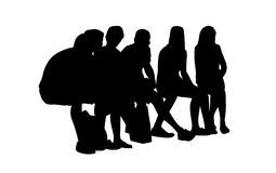 People seated outdoor silhouettes set 14 Stock Photo