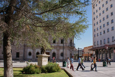 People are seen passing the main plaza of the city of Chihuahua, Royalty Free Stock Photography