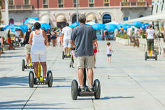 People on Segways on the waterfront in Split Royalty Free Stock Image