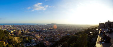 People seing barcelona landscape fom viewpoint Stock Images