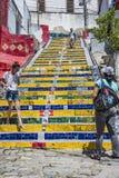 People at the Selaron Steps connecting Lapa and Santa Teresa  in Stock Photos