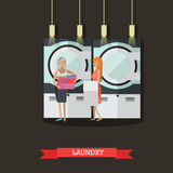People in self-service laundry vector poster. Room interior banner Royalty Free Stock Photos