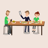 People Selfie with food with smartphone ,tablet  vector. Stock Photos