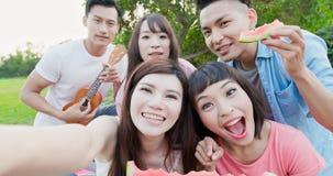 People enjoy at a picnic royalty free stock photos