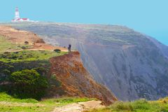 People selfies cliffs Cabo Espichel, Sesimbra, Portugal Stock Photography