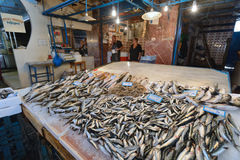 People sell freh fish in Chania, Crete Stock Images