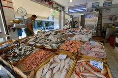 People sell freh fish in Chania, Crete Royalty Free Stock Image