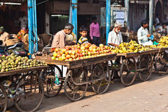 People sell fruits at Chawri Bazar in Delhi, India Royalty Free Stock Photo