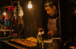 People sell snacks. The hui nationality in xi 'an street night market spicy tofu vendors come out at night stock photos