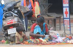 Shopping gift street shop Varanasi India. People sell souvenir on street in Varanasi India Stock Images