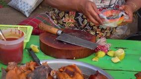 People sell street foods in Mandalay, Myanmar.  stock video