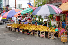 People selling banana in Manila, Philippines Royalty Free Stock Image