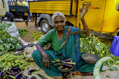 An Old woman greengrocer Royalty Free Stock Photography