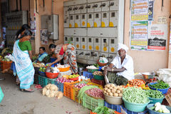 People selling and buying at the  vegetable market of Kollam Royalty Free Stock Photos