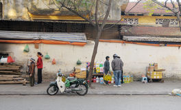 People selling drinks on street at Old Town in Hanoi, Vietnam Stock Images