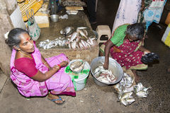 People selling fish at a street market, main daily market. Stock Photos