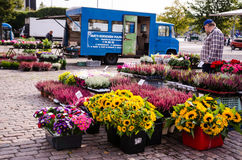People are selling flowers and pots in the open market at  Hakaniemen tori Stock Photography