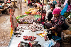 People selling food at marketplace. Cambodia. SIEM REAP, CAMBODIA - DEC 22, 2013: Unidentified Khmer woman and her son selling fish at food marketplace on Dec 22 Stock Image