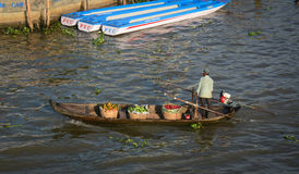People selling fruits on the river Stock Images