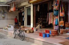 People selling goods at their souvenir shops in Thamel, Kathmandu, Nepal royalty free stock photography