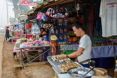 People are selling street food in Thailand. People are selling street food in Thabberk Hill at Phetchabun, Thailand Royalty Free Stock Photography