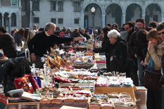 People are selling their old stuffs on a local flea market Veni Stock Image