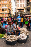 People selling vegetables at Asan market in central Kathmandu Royalty Free Stock Photos