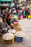People selling vegetables at Asan market in central Kathmandu Royalty Free Stock Photo
