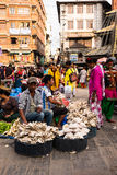 People selling vegetables at Asan market in central Kathmandu Stock Photo