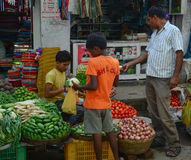 People selling vegetables at local market in Bodhgaya, India Stock Photography