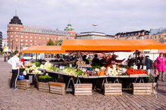 People are selling vegetables in the open market at  Hakaniemen tori Stock Photography