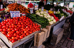 People are selling vegetables in the open market at  Hakaniemen tori Stock Image