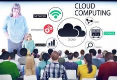 People in Seminar with Cloud Computing Concepts. Multiethnic Group of People in Seminar with Cloud Computing Concepts Stock Photo