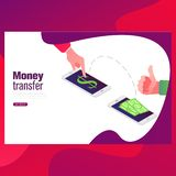 People sending and receiving money wireless with mobile phone. sending money from credit card via mobile phone. royalty free illustration