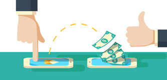 People sending and receiving money wireless with their mobile phones. Royalty Free Stock Image