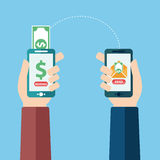 People sending and receiving money wireless with their mobile phones. Hands holding smart phones with banking payment apps. Flat s Royalty Free Stock Photos