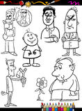 People set cartoon coloring page Royalty Free Stock Photos
