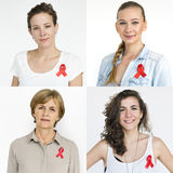 People Set of Diversity Women with Red Ribbon Studio Collage stock images