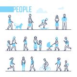 People - set of line design style characters. Isolated on white background. Active citizens run, jog, walk with a dog, cycle, go to work or school, speak on the Royalty Free Stock Photos